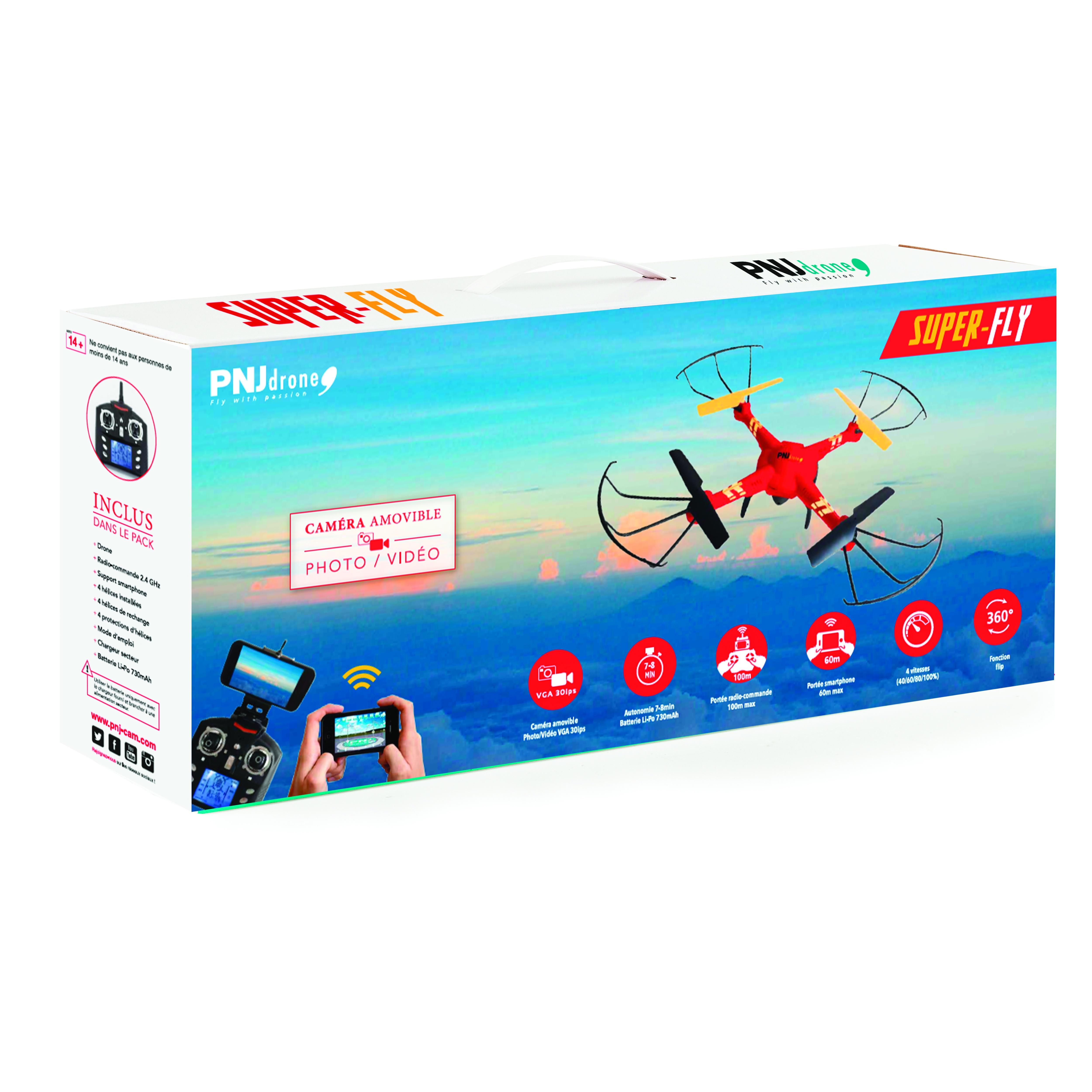 Inclus dans le pack: Drone SUPER-FLY Caméra WiFi VGA amovible…
