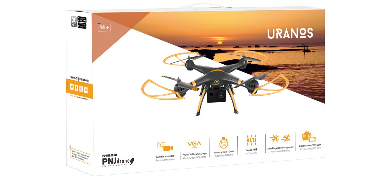 Inclus dans le pack: Drone URANOS avec caméra amovible Radio-commande…