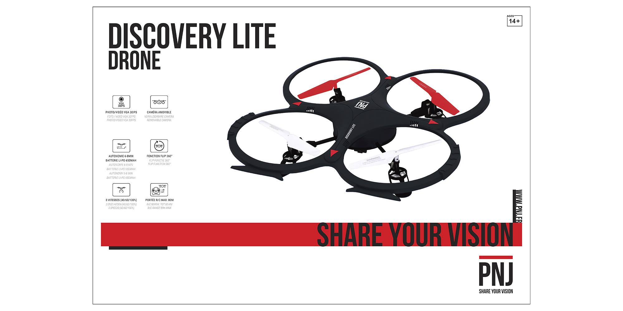 Inclus dans le pack: Drone DISCOVERY LITE avec caméra amovible…