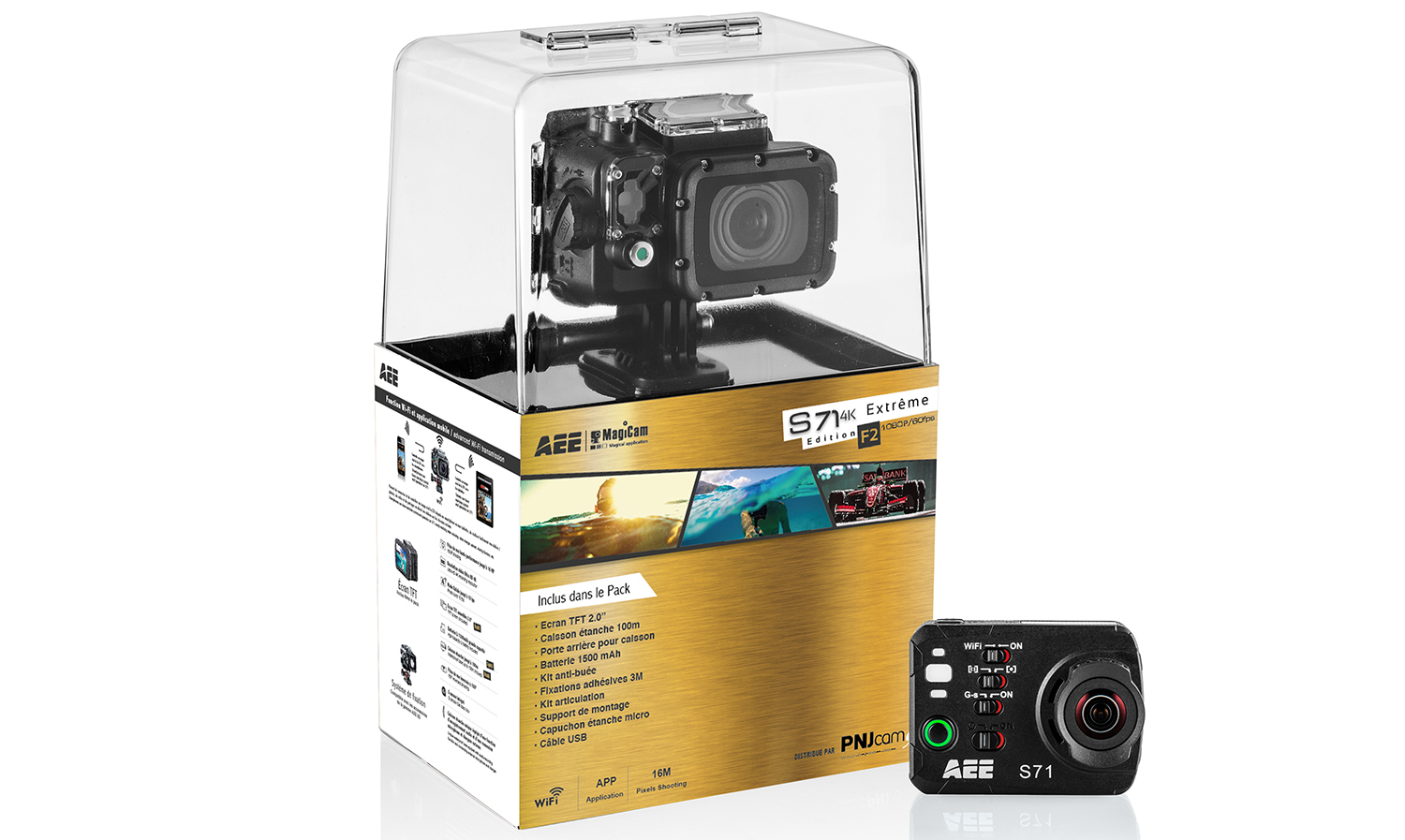 Included in the pack : AEE S71 camera Lithium-Ion Battery…